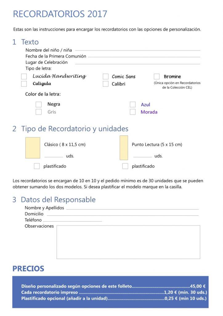 Personalizar Recordatorio Primera comunion pagina 1